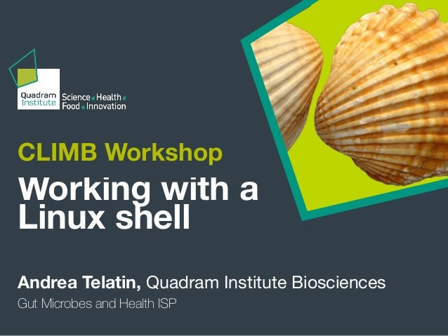 CLIMB Workshop Andrea Telatin, Quadram Institute Biosciences Working with a Linux shell Gut Microbes and Health ISP