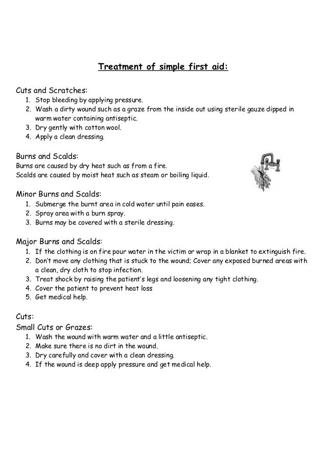 First aid – First Aid Worksheet