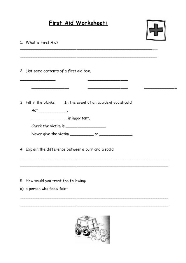 First Aid Worksheets For Kids Worksheets for all | Download and ...