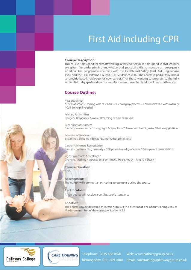 First Aid Including Cpr Training Courses