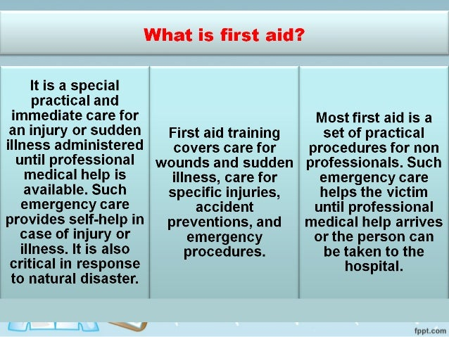 what is first aid Psychological first aid (pfa) is an evidence-informed approach that is built on  the concept of human resilience pfa aims to reduce stress symptoms and assist .