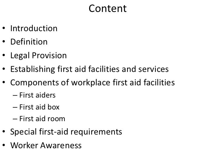 First Aid Services And Practice