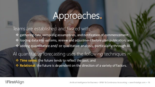 Artificial Intelligence for Business – BP&F & Continuous Accounting ~ www.firstalign.com ~ 16 Approaches. Teams are establ...