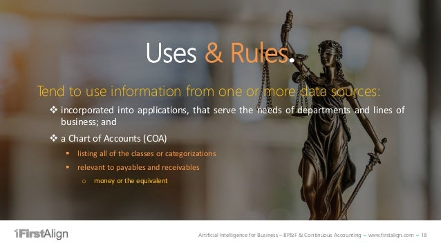 Artificial Intelligence for Business – BP&F & Continuous Accounting ~ www.firstalign.com ~ 18 Uses & Rules. Tend to use in...