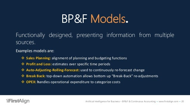 Artificial Intelligence for Business – BP&F & Continuous Accounting ~ www.firstalign.com ~ 20 BP&F Models. Functionally de...