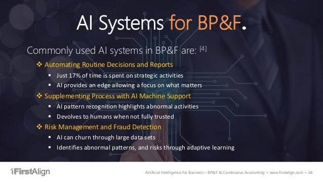 Artificial Intelligence for Business – BP&F & Continuous Accounting ~ www.firstalign.com ~ 24 AI Systems for BP&F. Commonl...