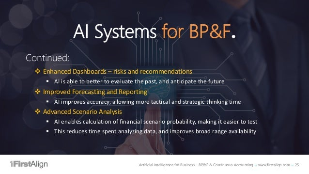Artificial Intelligence for Business – BP&F & Continuous Accounting ~ www.firstalign.com ~ 25 AI Systems for BP&F. Continu...
