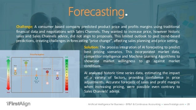 Artificial Intelligence for Business – BP&F & Continuous Accounting ~ www.firstalign.com ~ 28 Forecasting. Challenge: A co...