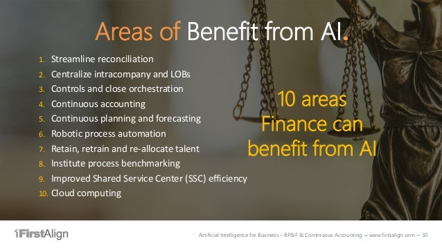 Artificial Intelligence for Business – BP&F & Continuous Accounting ~ www.firstalign.com ~ 30 1. Streamline reconciliation...