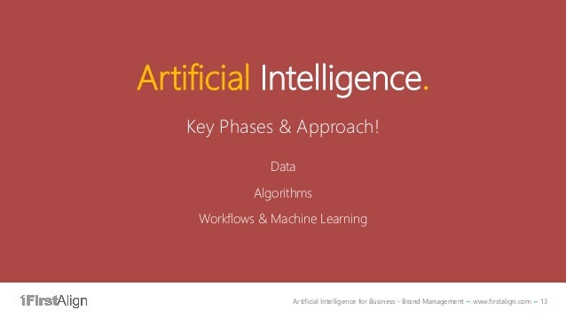 Artificial Intelligence for Business - Brand Management ~ www.firstalign.com ~ 13 Artificial Intelligence. Key Phases & Ap...