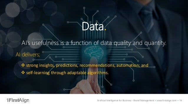 Artificial Intelligence for Business - Brand Management ~ www.firstalign.com ~ 14 Data. AI's usefulness is a function of d...