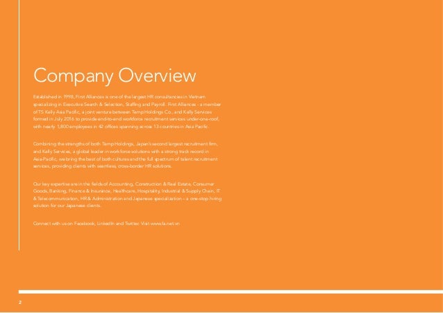 Company Overview Established in 1998, First Alliances is one of the largest HR consultancies in Vietnam specializing in Ex...