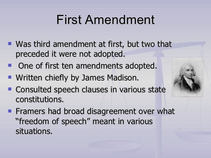freedom of speech mandated by law in the first amendment First amendment congress shall make no law respecting an establishment of religion, or prohibiting the free exercise thereof or abridging the freedom of speech date: 1918 facts: leader of socialists party protests involvement in wwi praises people who didn't sign up and don't fight in the war lq.