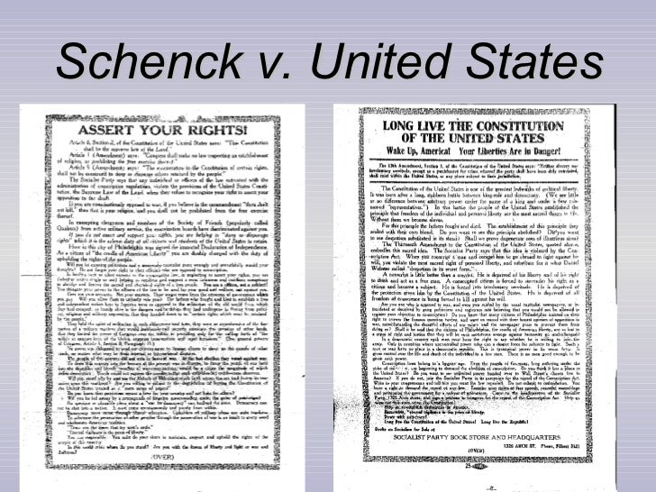schenck v united states Abrams v united states,  derived from the common law and announced in schenck v united states and companion cases earlier in 1919  in citizens united v.