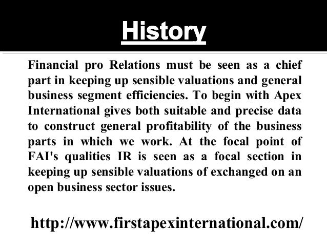 First Apex International Slide 2
