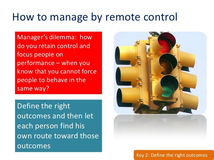 How to manage by remote control Manager's dilemma: how do you retain control and focus people on performance – when you kn...
