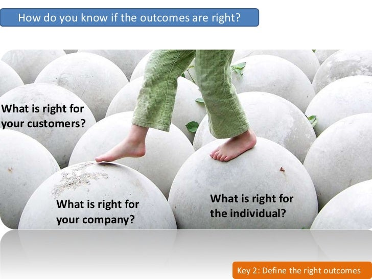 How do you know if the outcomes are right?     What is right for your customers?                What is right for         ...