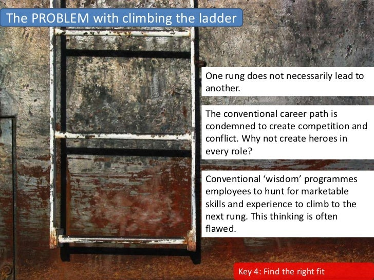 The PROBLEM with climbing the ladder                                  One rung does not necessarily lead to               ...