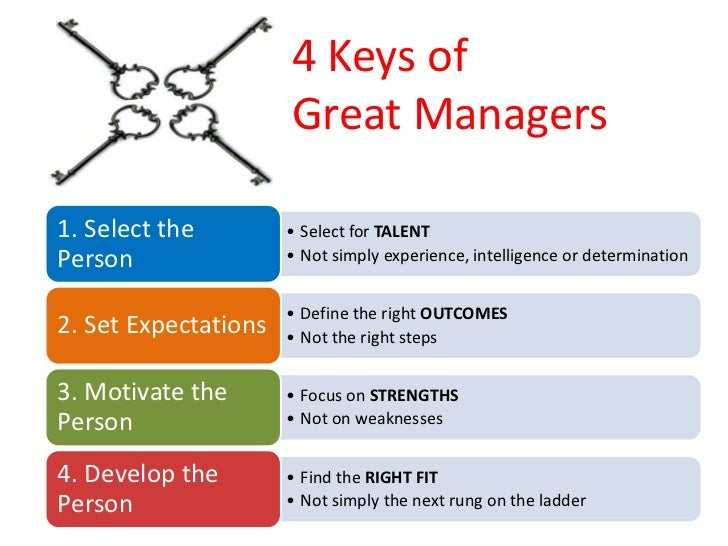 4 Keys of                       Great Managers  1. Select the         • Select for TALENT Person                • Not simp...