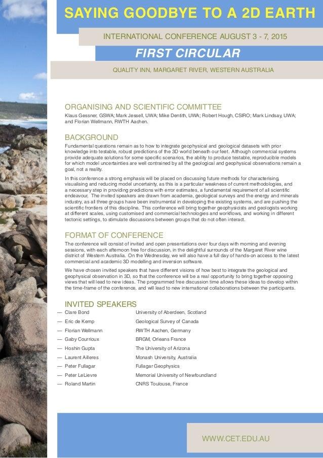 ORGANISING AND SCIENTIFIC COMMITTEE Klaus Gessner, GSWA; Mark Jessell, UWA; Mike Dentith, UWA; Robert Hough, CSIRO; Mark L...