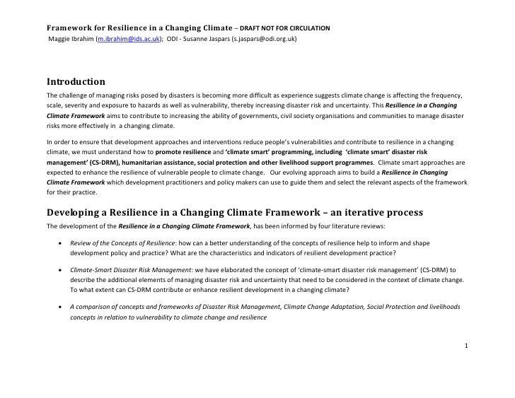 Framework for Resilience in a Changing Climate – DRAFT NOT FOR CIRCULATION Maggie Ibrahim (m.ibrahim@ids.ac.uk); ODI - Sus...
