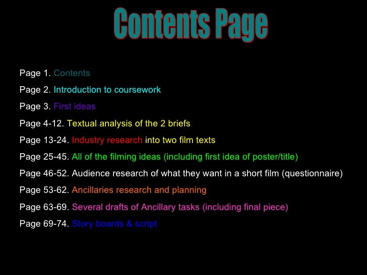 Contents Page Page 1.   Contents Page 2.   Introduction to coursework Page 3.  First ideas Page 4-12.  Textual analysis of...