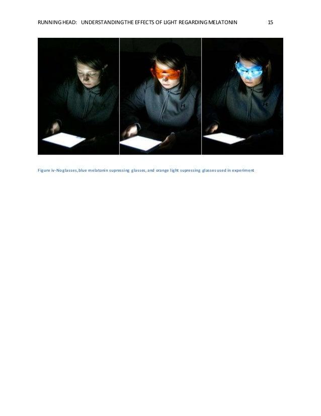 RUNNING HEAD: UNDERSTANDING THE EFFECTS OF LIGHT REGARDING MELATONIN 15  Figure iv-No glasses, blue melatonin supressing g...