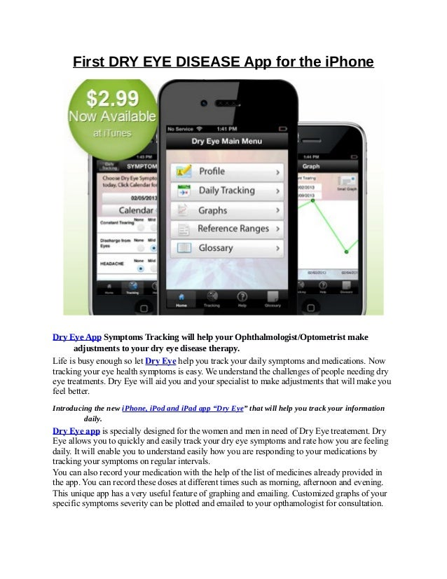 First DRY EYE DISEASE App for the iPhone