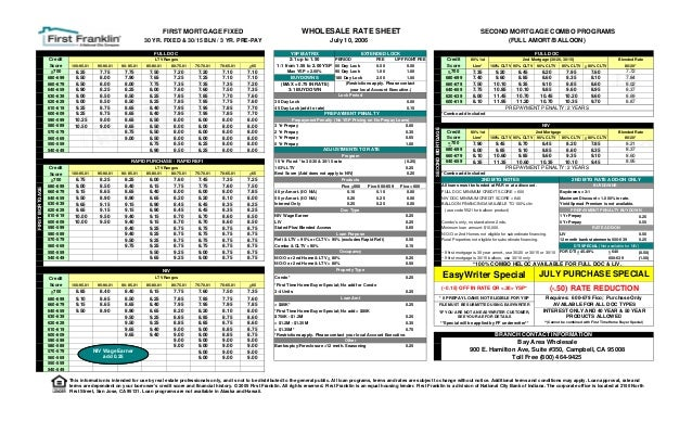 First franklin Subprime Wholesale Rate Sheet - July 10 2006