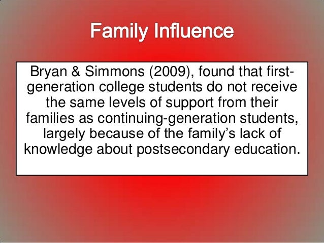 an examination of the experiences of first generation college students Generation students may have college experiences which are different from those  of  failure on this examination could mean a decrease in salary or loss of.