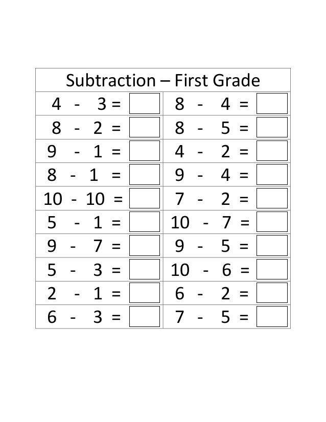 First grade math worksheets subtraction and addition