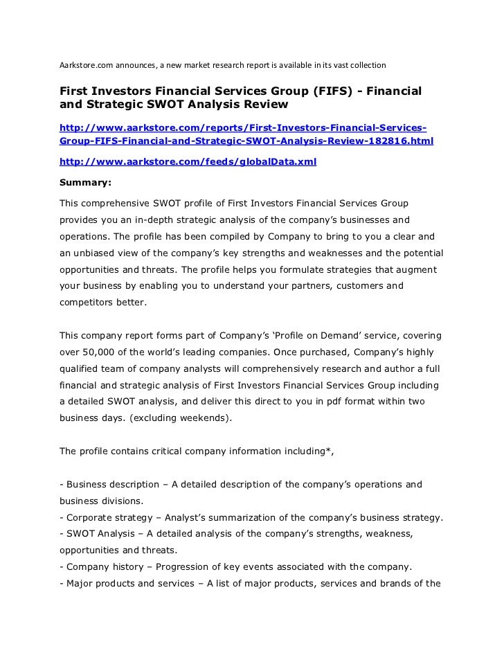 Aarkstore.com announces, a new market research report is available in its vast collectionFirst Investors Financial Service...