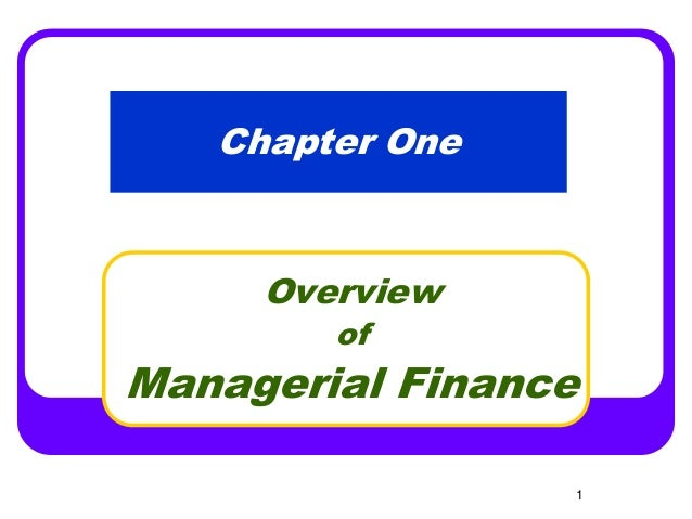 Chapter 1 an overview of financial