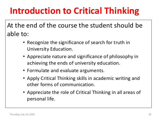 critical thinking andethics