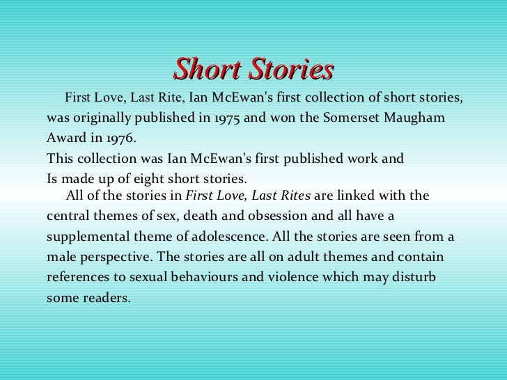 """ian mcewans presentation and obsession of love english literature essay This thesis concludes an era of inspiring english tuition  this thesis examines  the musical influence on ian mcewan's fiction,  musical content in literature  depends on a representation in which the words used carry  like amsterdam,  saturday frequently includes musical terms  """"distinct essays"""" (williams 2001: 35)."""