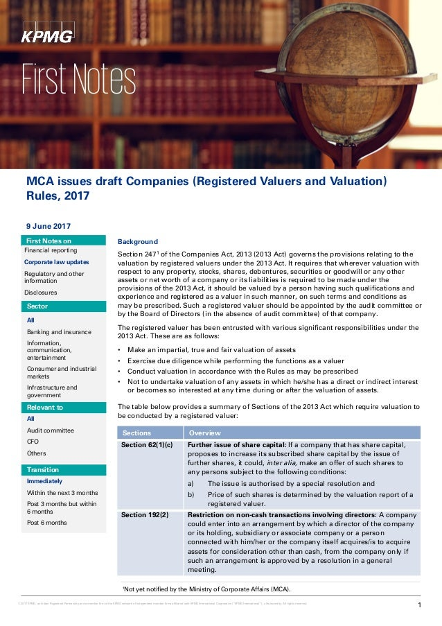 MCA issues draft Companies (Registered Valuers and Valuation) Rules, 2017 9 June 2017 First Notes on Financial reporting C...