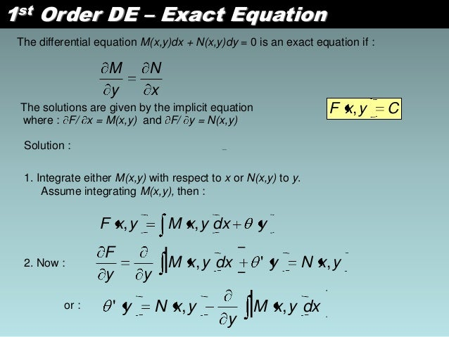First order linear differential equation