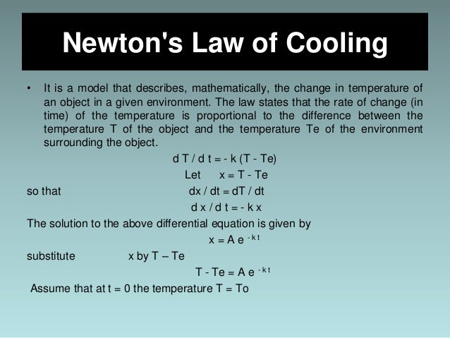 Newton's law of cooling calculus, example problems, differential.
