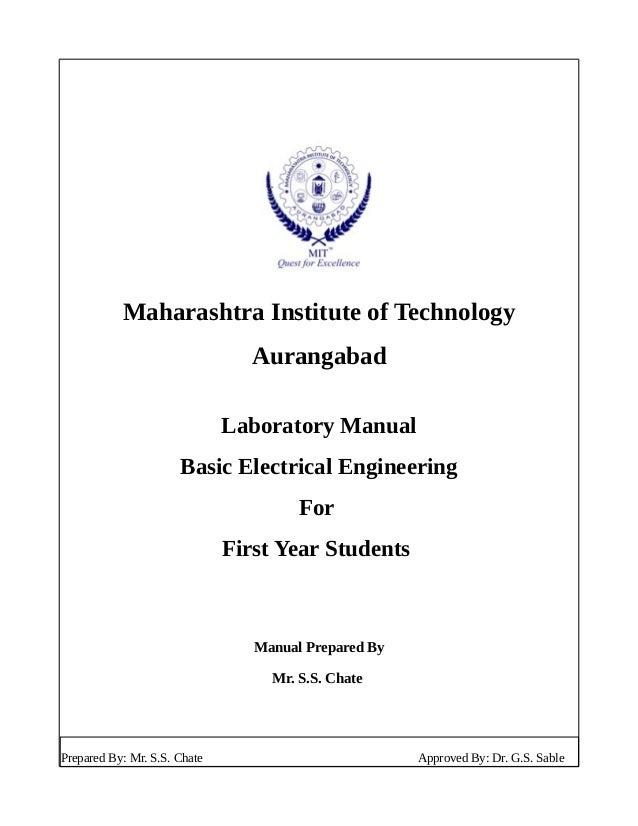 Maharashtra Institute of Technology Aurangabad Laboratory Manual Basic Electrical Engineering For First Year Students Manu...