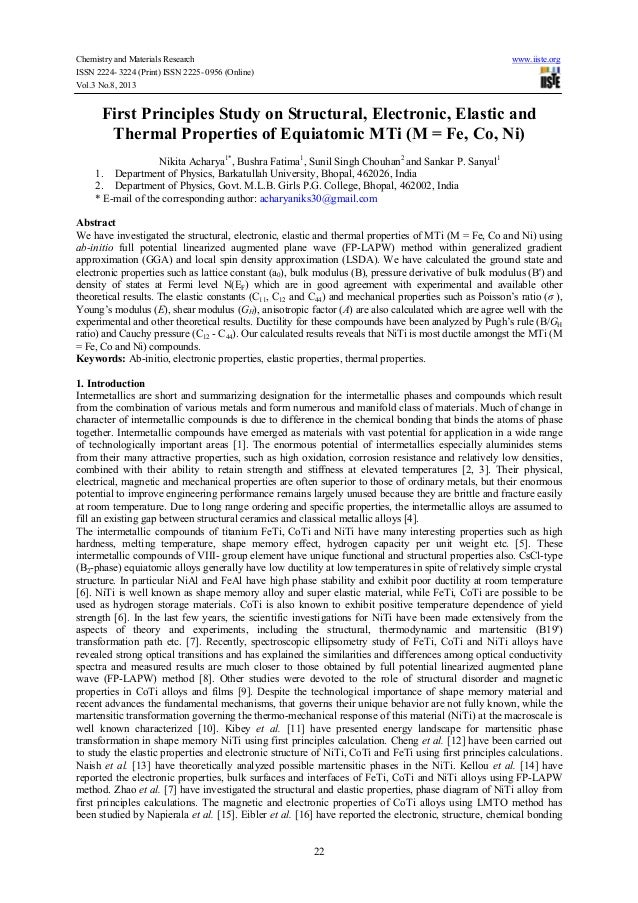 Chemistry and Materials Research www.iiste.org ISSN 2224- 3224 (Print) ISSN 2225- 0956 (Online) Vol.3 No.8, 2013 22 First ...