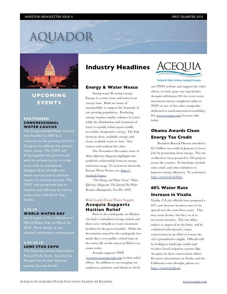 INVESTOR NEWSLETTER ISSUE 4                                                                           FIRST QUARTER 2010 ...