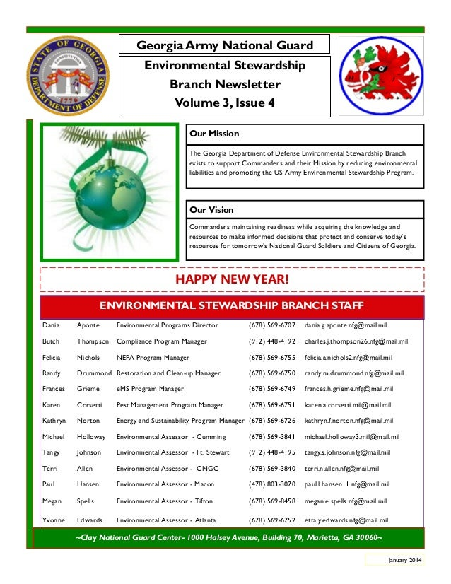 Georgia Army National Guard Environmental Stewardship Branch Newsletter Volume 3, Issue 4 Our Mission The Georgia Departme...