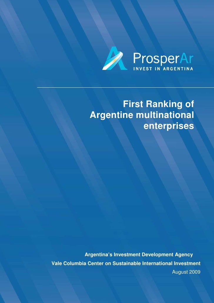 First Ranking of                Argentine multinational                            enterprises                  Argentina'...