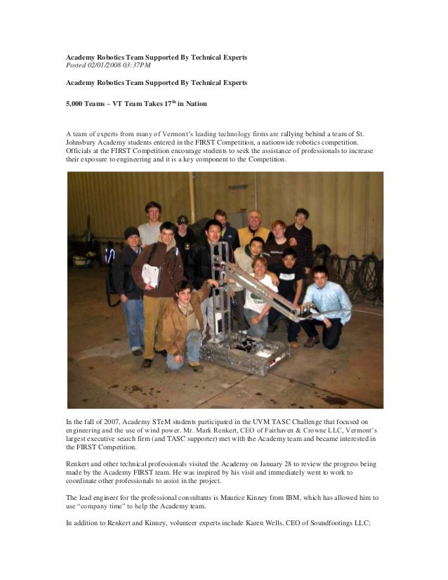 Academy Robotics Team Supported By Technical Experts Posted 02/01/2008 03:37PM Academy Robotics Team Supported By Technica...