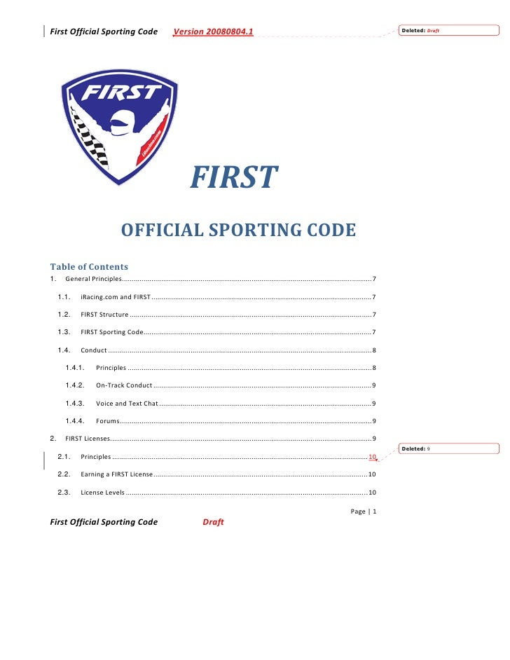 First Official Sporting Code                               Version 20080804.1                                             ...