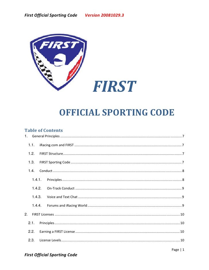 First Official Sporting Code                                Version 20081029.3                                            ...