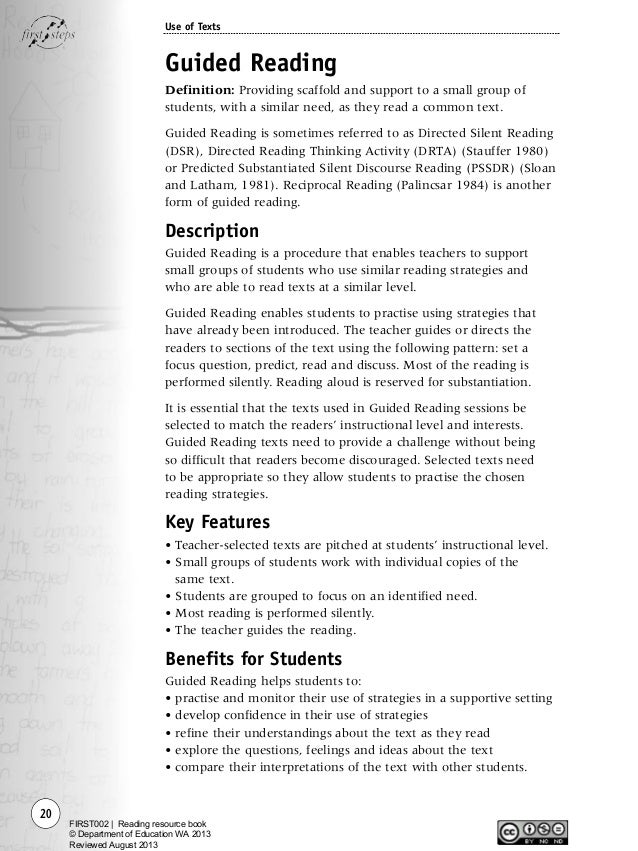 First steps - Reading resource book
