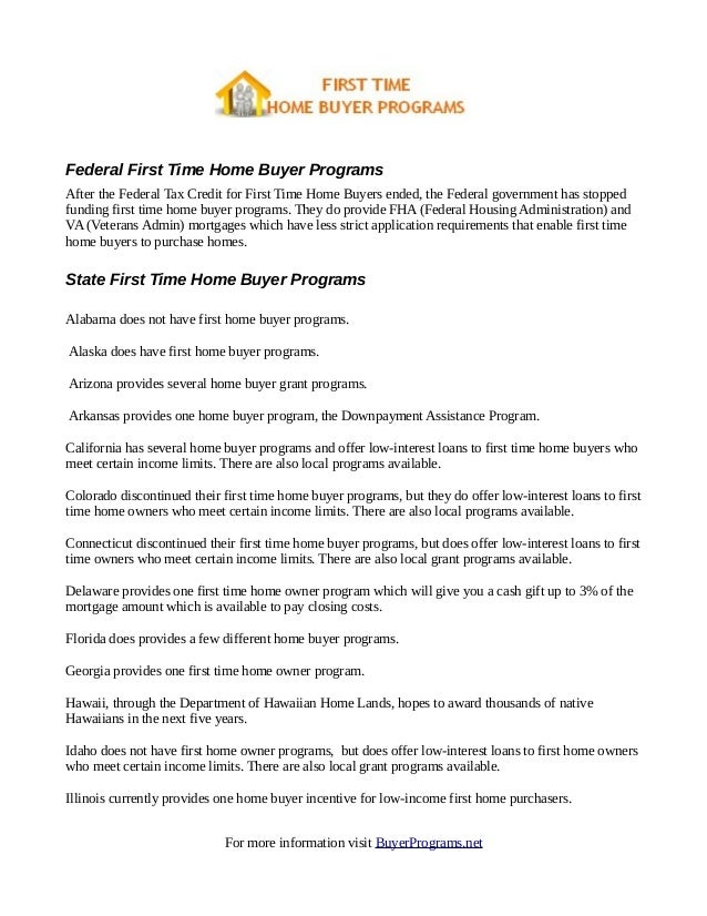 List Of First Time Home Buyer Programs