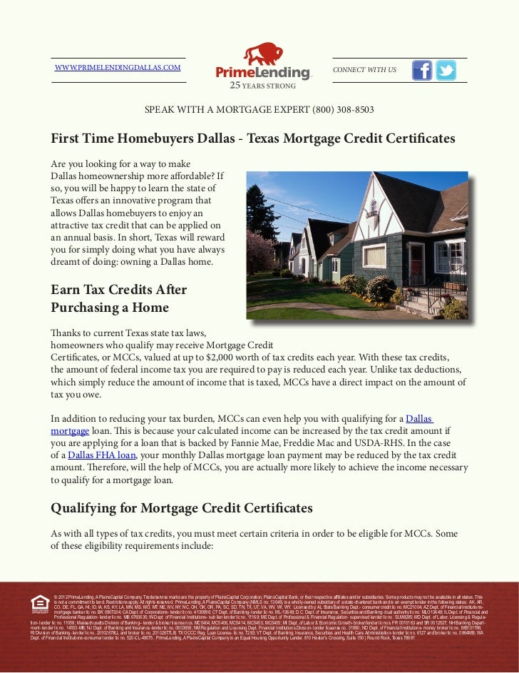 First Time Homebuyers Dallas Texas Mortgage Credit Certificates