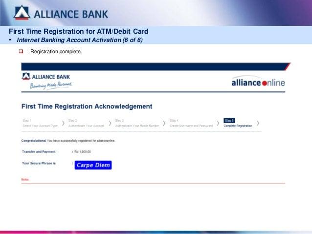 Allianceonline First Time Registration For Atm Debit Card